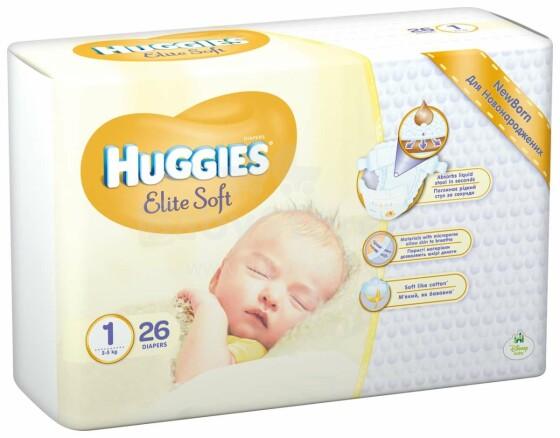 Huggies Elite Soft Newborn Art.041564876 autiņbiksītes jaundzimušajiem 2-5kg 26gb