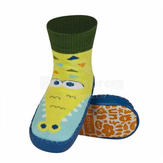 Soxo Baby Art.53335 - 2 Zeķes - čibiņas ar  dabisko ādas zolēm