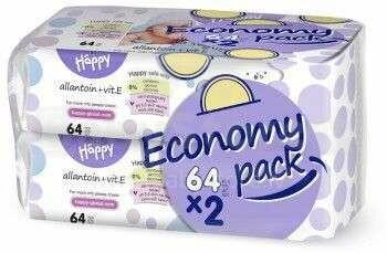Happy Economy mitrās salvetes ar E vitamīnu 2x64gb