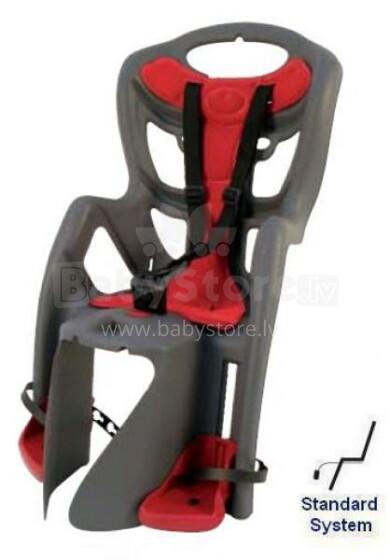 Bellelli Pepe standard 2011 pelēks & sarkans velosipēda sēdeklītis uz rāmja