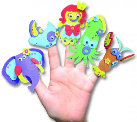 FOLIA radošais komplekts 2362 Pirkstiņu lelles-Zoo no CREPLA putukartona, 5 tēli