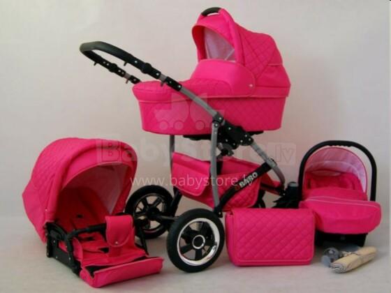 Raf-pol Qbaro Art. 84717 Bērnu universālie jaundzimušo moderni ratiņi ar piepūšamiem riteņiem 2 vienā [viss komplektā]