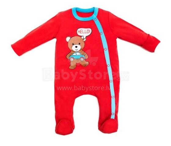 Cango Art.46016 Red Bear Zīdaiņu kokvilnas kombinzons