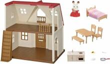 Sylvanian Families Art.5303 Red Roof Cosy Cottage Māja ar šokolādes zaķu meiteni Freya (Juljetta, Maria) un aksesuāriem [mājīgās kotedžas sākuma komplekts]