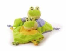 Djeco Art.7166  Doudou Froggy Mīksta rotaļlieta Miega lupatiņa - grabulis 'Varde'