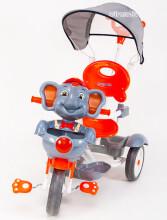 Babymix AL JG-870 Silver interaktīvs bērnu trīsritenis ar jumtiņu un rokturi  Zilonis